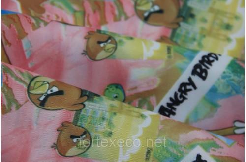 """Ткань Оксфорд,210D,принт """"Birds"""" (розовые запл.)"""
