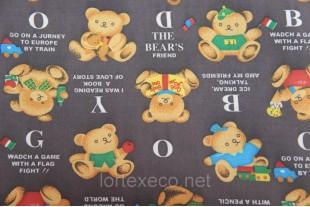 """Ткань Оксфорд,210D,принт """"Alpha-Bear""""."""