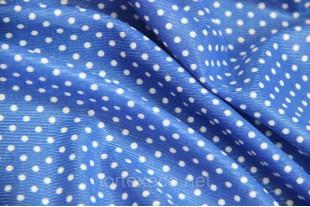 Ткань Нейлон, цвет синий в горошек, 90 г/м2.