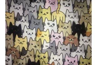"Ткань Оксфорд 210Д, ""Коты серые"" JY16-90309,110г/м2."